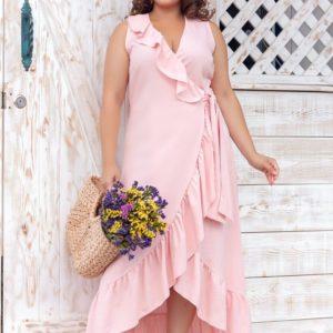 Заказать розовое женское платье из натурального льна в романтическом стиле на запах (размер 50-64) недорого