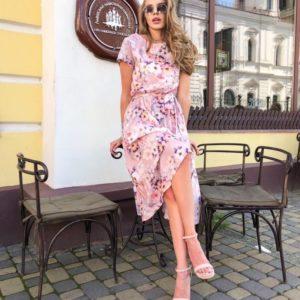 Заказать женское Цветочное платье длины миди розовое с поясом онлайн