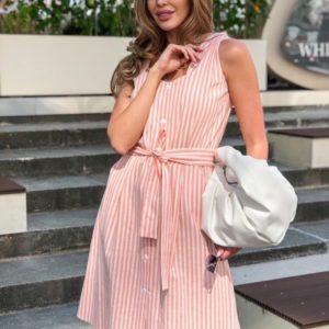 Купити персикове плаття для жінок з льону в вертикальну смужку недорого