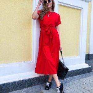 Купить красное платье для женщин миди в горошек с поясом дешево