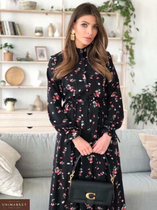 Заказать женское с поясом принтованное платье с длинным рукавом для женщин (размер 42-50) в Украине