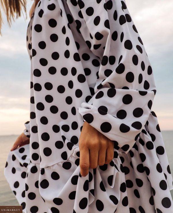 Купить белое платье оверсайз для женщин в горошек и с длинным рукавом онлайн
