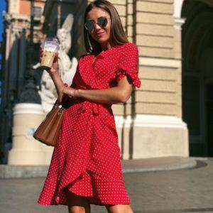 Заказать красное женское Платье в горошек на запах с завязками на рукавах по низким ценам
