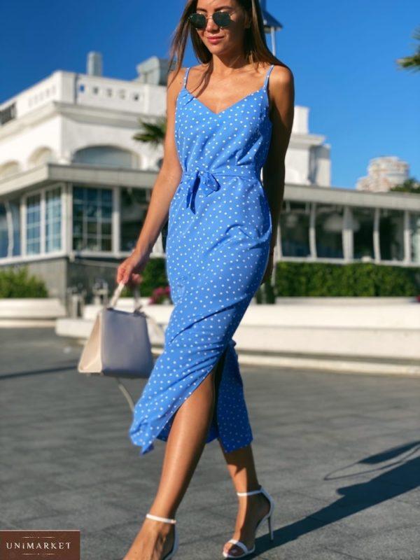 Приобрести голубое Длинное платье на бретельках в горошек с поясом для женщин выгодно