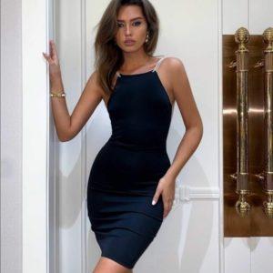 Приобрести женское Вечернее платье из трикотажа с открытой спиной черного цвета выгодно