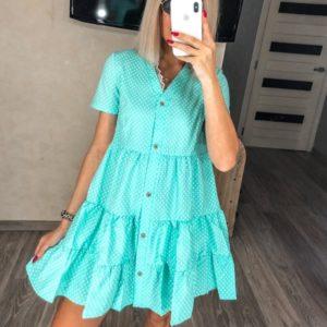 Приобрести мятное Летнее платье с рюшами в горошек (размер 42-52) для женщин дешево