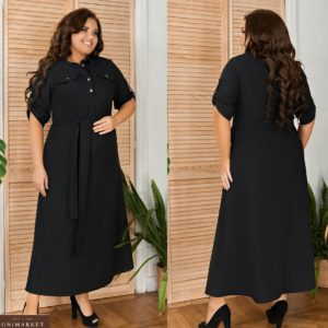 Приобрести черное женское платье а-силуэта из натурального льна с поясом (размер 48-64) недорого
