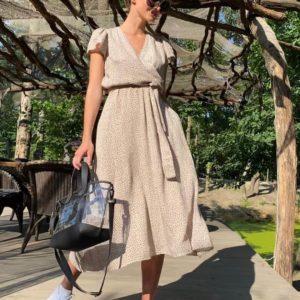 Купить беж женское платье миди из штапеля с поясом выгодно