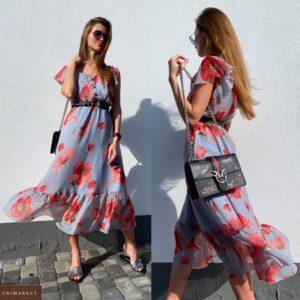 Приобрести голубое дешево женское нежное платье в цветочный принт с рукавами-бабочками в Украине