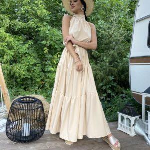 Купить беж женское платье макси с горловиной с открытыми плечами в интернете