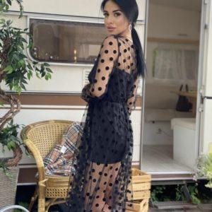 Купить женское черное платье с сеткой в горошек онлайн