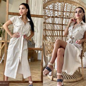 Купить беж женское платье-рубашка из хлопка в стиле сафари выгодно