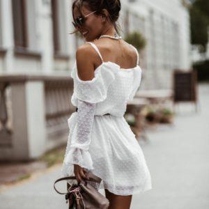 Приобрести женское белое воздушное платье мини в горошек по низким ценам