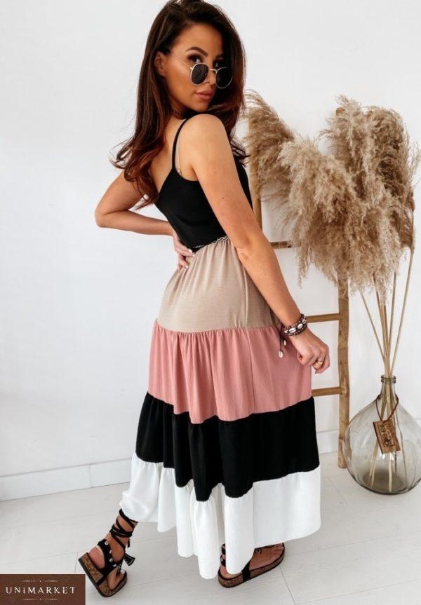 Приобрести розовое женское длинное платье на бретельках с многоцветной юбкой (размер 42-48) выгодно