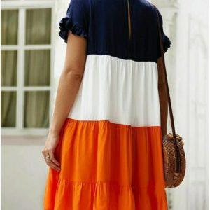 Купить синий/белый/оранж женское трехцветное яркое платье из штапеля (размер 42-56) по низким ценам