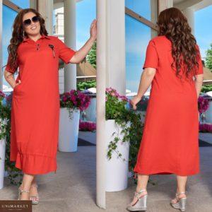 Заказать красное женское длинное платье из льна с затяжкой снизу (размер 48-66) в Киеве, Харькове