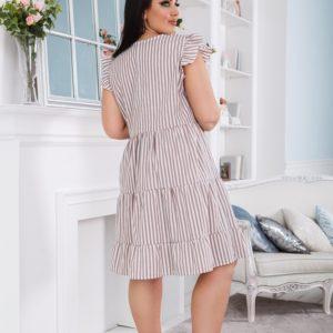 Приобрести беж женское платье в вертикальную полоску с рюшами (размер 42-56) дешево