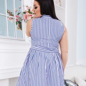 Приженское голубое платье в вертикальную полоску с поясом (размер 42-52) недорогообрести