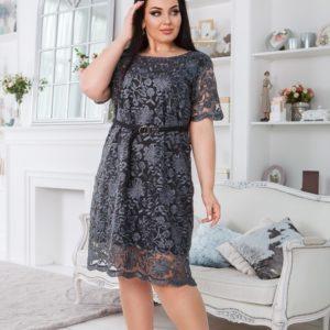 Заказать серое женское кружевное платье с подкладкой с поясом в комплекте (размер 50-60) в Одессе