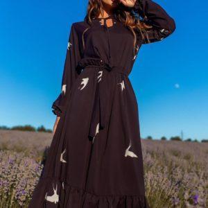 Заказатьженское чёрное платье миди с ласточками (размер 42-54) выгодно