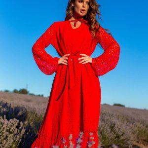 Приобрести женское красное платье с поясом и воланами (размер 42-54) онлайн