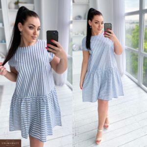 Заказать голубое женское платье из льна в вертикальную и горизонтальную полоску (размер 50-56) онлайн