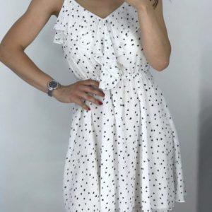 Купить белое женское легкое принтованное платье из хлопка с шифоном выгодно