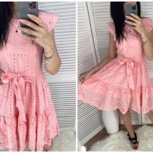 Заказать розовое женское летнее платье из прошвы с рюшами онлайн
