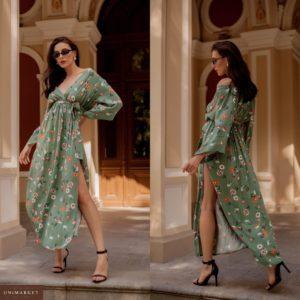 Приобрести зеленое женское нежное платье макси из натуральной ткани с декольте по скидке