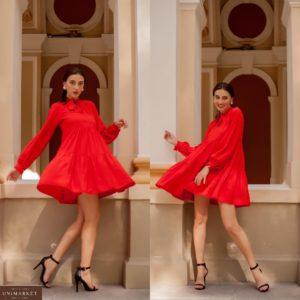 Заказать красное женское свободное платье с воланами с завязкой на шее (размер 42-52) онлайн