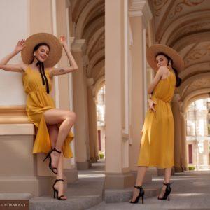 Заказать горчица женское летнее платье миди с бретельками-завязками (размер 42-58) по скидке