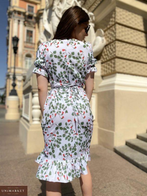 Купить миди принтованное платье белое недорого на запах с рукавами-фонариками для женщин (размер 42-48)