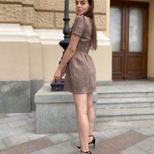 Купить мокко с рукавами-фонариками женское замшевое платье размера 42-48 S-XL дешево