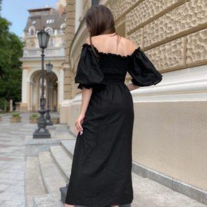 Купить женское платье из льна с объемными рукавами размера 42-58 черного цвета длины макси по низким ценам