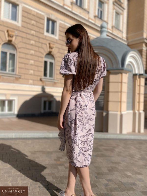 Заказать сиреневое с рукавами-фонариками платье-рубашка с поясом для женщин размера 42-46 онлайн