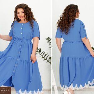 Купить голубое женское платье-рубашка длины макси с контрастным кружевом (размер 48-66) недорого