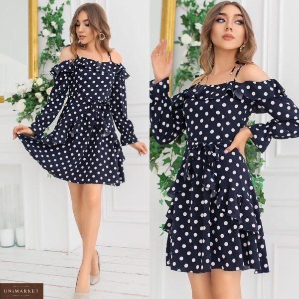 Приобрести платье с открытыми плечами для женщин в горошек с рюшами (размер 42-48) черного цвета недорого