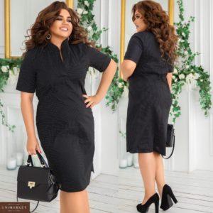 Заказать черное принтованное женское платье с воротником-стойкой (размер 48-62) по низким ценам в горошек
