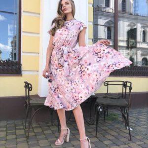Купить женское цветочное платье миди с поясом розовое недорого