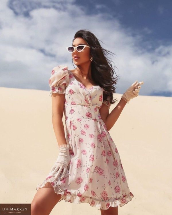 Заказать белое шифоновое женское платье в цветочный принт с рукавами-фонариками выгодно