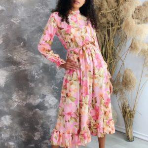 Приобрести розового цвета принтованное платье с длинным рукавом с поясом женское (размер 42-50) дешево
