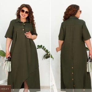 Купить хаки женское льняное платье oversize с защипами на подоле (размер 48-66) недорого