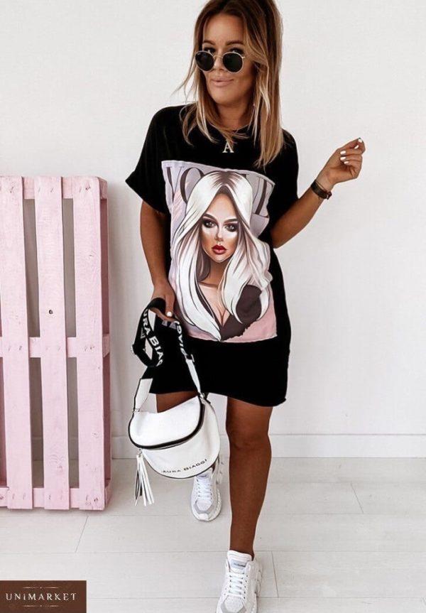 Купить черного цвета трикотажное женское платье-футболка с принтом Vogue (размер 42-50) по скидке
