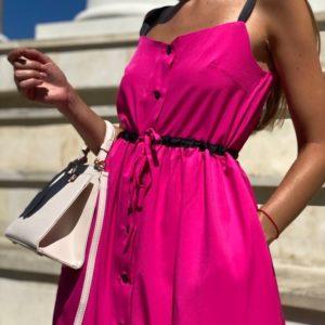 Придбати малинове Літнє плаття-сорочка міді на бретелях вигідно для жінок