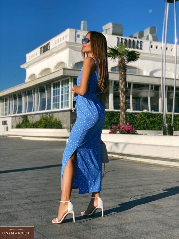 Купить женское голубое Длинное платье на бретельках в горошек с поясом по скидке