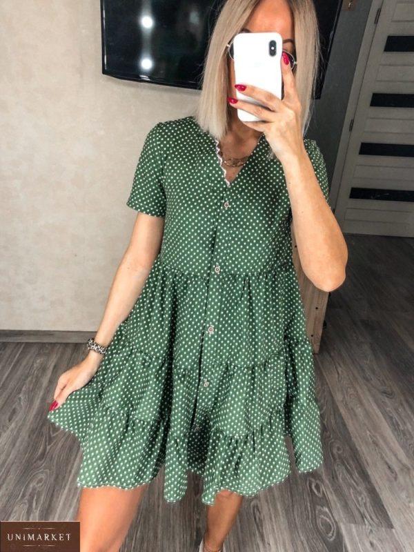 Купить для женщин платье на лето зеленое с рюшами в горошек (размер 42-52) выгодно