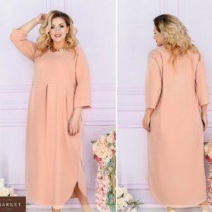 Приобрести персиковое женское свободное летнее платье миди с рукавом 3/4 (размер 48-66) в интернет-магазине