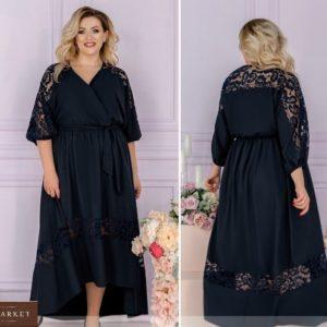 Приобрести синее женское летнее платье с кружевом и асимметричным подолом (размер 48-62) недорого