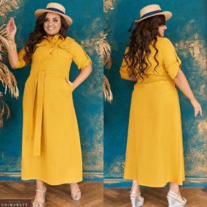 Купить горчица женское платье а-силуэта из натурального льна с поясом (размер 48-64) выгодно