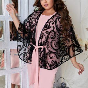 Купить розовое женское коктейльное платье полуприталеного силуэта с нарядной накидкой (размер 48-62) во Львове